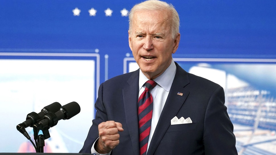 U.S. President Joe Biden speaks in the Eisenhower Executive Office Building in Washington, D.C., U.S., on Wednesday, April 7, 2021. Bidenpromoted his $2.25 trillion infrastructure plan and described its passage as urgent to keep the U.S. competitive against China.