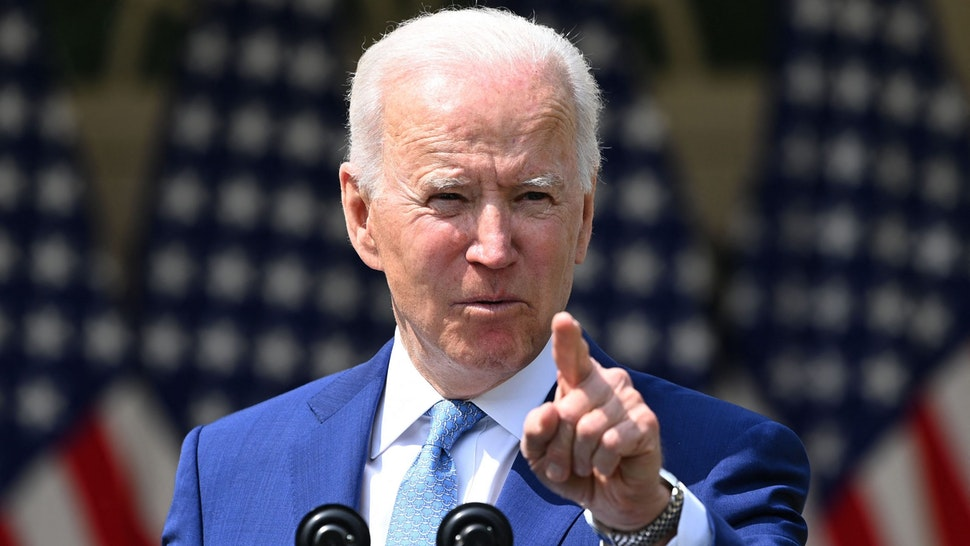 """US President Joe Biden speaks about gun violence prevention in the Rose Garden of the White House in Washington, DC, on April 8, 2021. - Biden on Thursday called US gun violence an """"epidemic"""" at a White House ceremony to unveil new attempts to get the problem under control."""