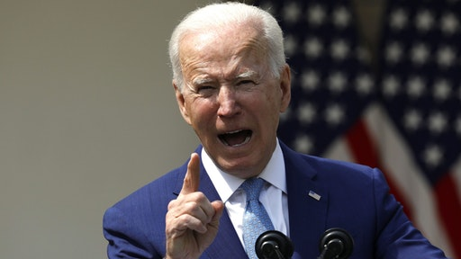 U.S. President Joe Biden speaks in the Rose Garden of the White House in Washington, D.C., U.S., on Thursday, April 8, 2021. Biden announced a set of executive actions to curb gun violence, urging Congress to adopt stricter laws and rebutting arguments that his new measures impinge on Americans' second amendment rights.