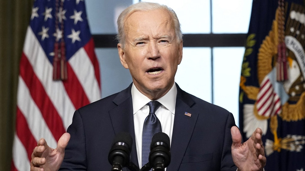 "U.S. President Joe Biden speaks in the Treaty Room of the White House in Washington, D.C., U.S., on Wednesday, April 14, 2021. Biden announced his decision to fully withdraw U.S. forces from Afghanistan by the 20th anniversary of the September 11, 2001 attacks, declaring that it's ""time for Americas troops to come home."""