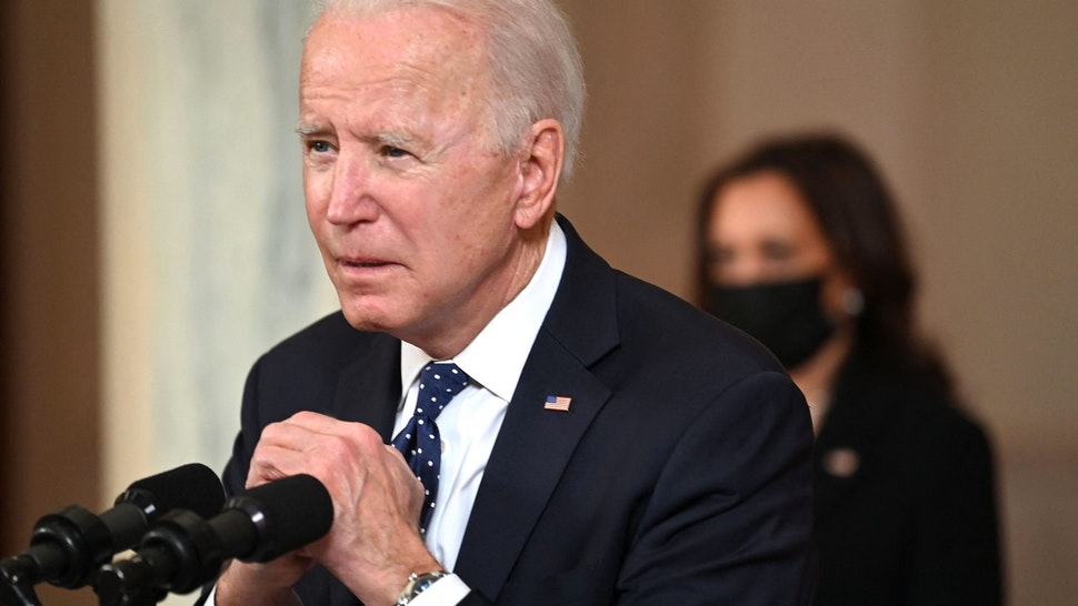 US President Joe Biden gestures as he delivers remarks on the guilty verdict against former policeman Derek Chauvin at the White House in Washington, DC, on April 20, 2021. - Derek Chauvin, a white former Minneapolis police officer, was convicted on April 20 of murdering African-American George Floyd after a racially charged trial that was seen as a pivotal test of police accountability in the United States.