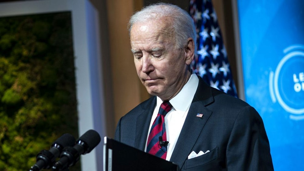 WASHINGTON, DC - APRIL 22: U.S. President Joe Biden delivers remarks during a virtual Leaders Summit on Climate with 40 world leaders at the East Room of the White House April 22, 2021 in Washington, DC. President Biden pledged to cut greenhouse gas emissions by half by 2030.