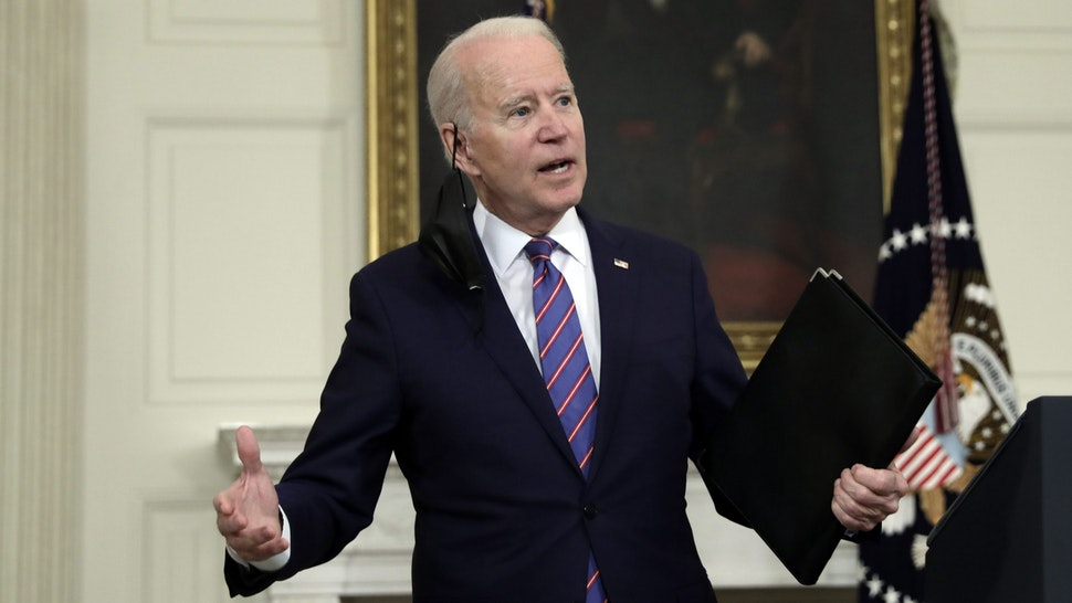 U.S. President Joe Biden answers a question from a member of the media after speaking in the State Dining Room of the White House in Washington, D.C., U.S., on Friday, April 2, 2021. U.S. employers added the most jobs in seven months with improvement across most industries in March, as more vaccinations and fewer business restrictions supercharged the labor market recovery.