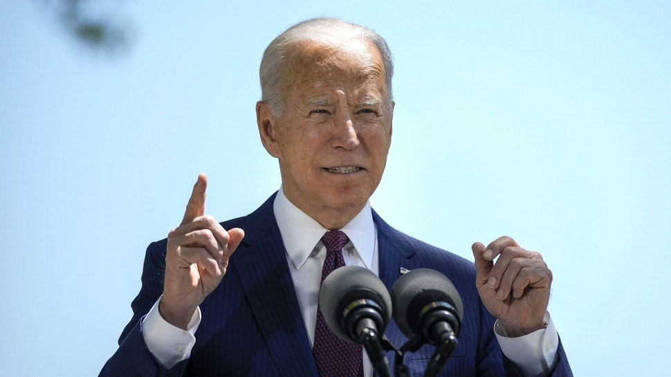 WASHINGTON, DC - APRIL 27: U.S. President Joe Biden speaks about updated CDC mask guidance on the North Lawn of the White House on April 27, 2021 in Washington, DC. President Biden announced updated CDC guidance, saying vaccinated Americans do not need to wear a mask outside when in small groups.