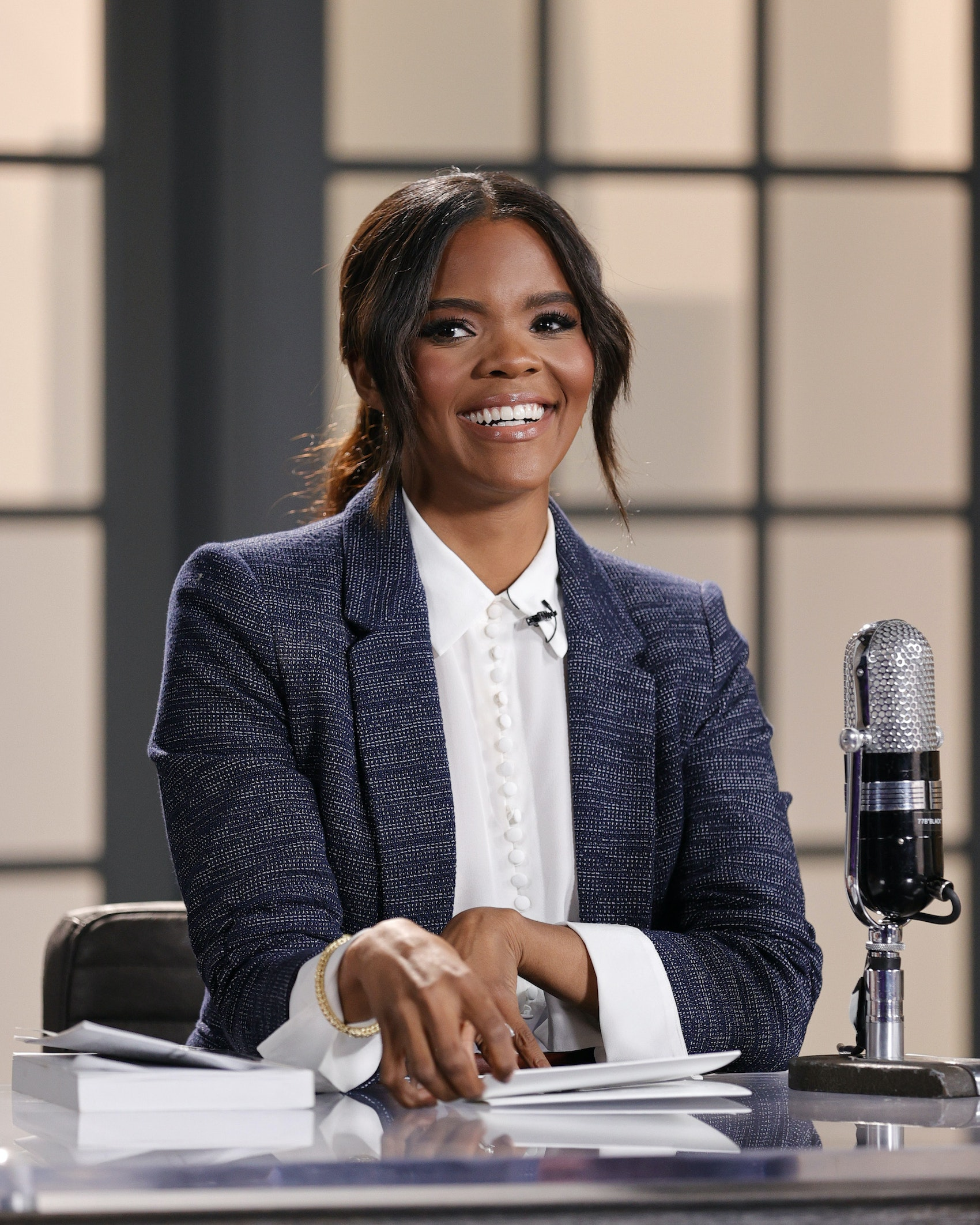"""Host Candace Owens is seen on set of """"Candace"""" on March 31, 2021 in Nashville, Tennessee. The show will air on Friday, April 2, 2021. (Photo by Jason Kempin/Getty Images)"""