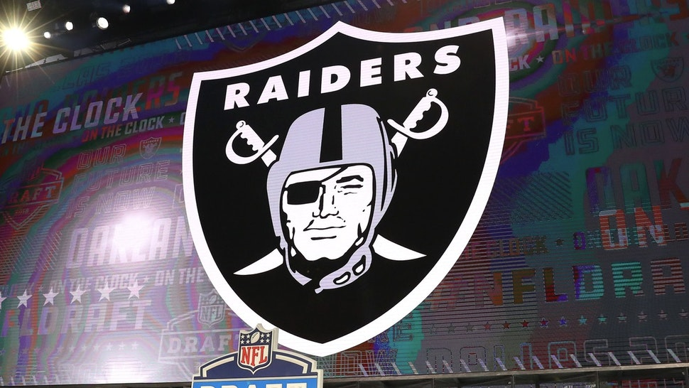 ARLINGTON, TX - APRIL 26: The Los Angeles Raiders logo on the video board during the first round at the 2018 NFL Draft at AT&T Statium on April 26, 2018 at AT&T Stadium in Arlington Texas. (Photo by Rich Graessle/Icon Sportswire via Getty Images)