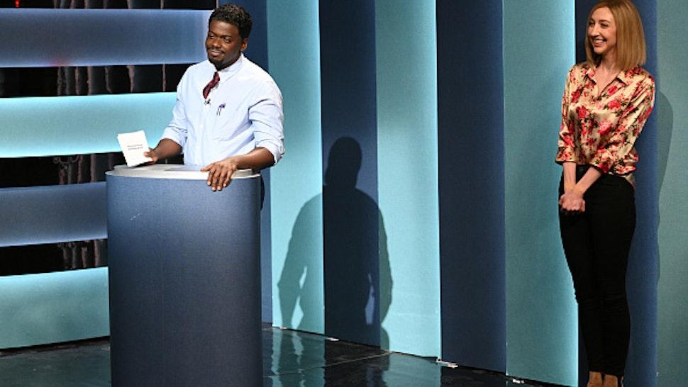 "SATURDAY NIGHT LIVE -- ""Daniel Kaluuya"" Episode 1801 -- Pictured: (l-r) Host Daniel Kaluuya and Heidi Gardner during the ""Doctor Game Show"" sketch on Saturday, April 3, 2021"