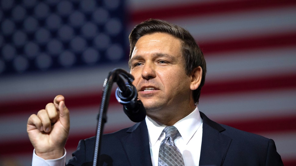 US Representative Ron DeSantis, Republican of Florida, and candidate for Florida Governor, speaks during a rally with US President Donald Trump at Florida State Fairgrounds Expo Hall in Tampa, Florida, on July 31, 2018.