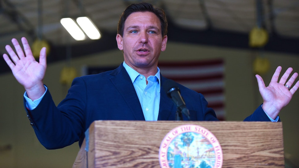 MELBOURNE, FLORIDA, UNITED STATES - 2021/03/22: Florida Governor, Ron DeSantis speaks at a press conference at the Eau Gallie High School aviation hangar. DeSantis announced he is asking the legislature for $75 million of federal funds to support what hes dubbed the Get There Faster initiative, aimed at boosting access to technical education programs for both high school students and adult learners.