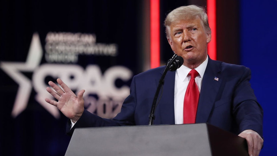ORLANDO, FLORIDA - FEBRUARY 28: Former U.S. President Donald Trump addresses the Conservative Political Action Conference (CPAC) held in the Hyatt Regency on February 28, 2021 in Orlando, Florida. Begun in 1974, CPAC brings together conservative organizations, activists, and world leaders to discuss issues important to them. (Photo by Joe Raedle/Getty Images)