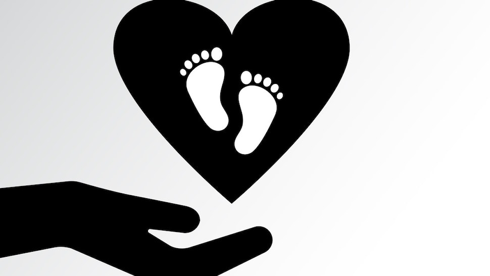 Family icon. Pregnancy sign. Caring for a child. Two hands protect the heart with footprints. Vector illustration - stock vector Family icon. Pregnancy sign. Caring for a child. Two hands protect the heart with footprints. Vector illustration