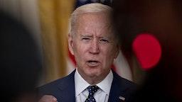U.S. President Joe Biden speaks in the East Room of the White House in Washington, D.C., U.S., on Thursday, April 15, 2021.