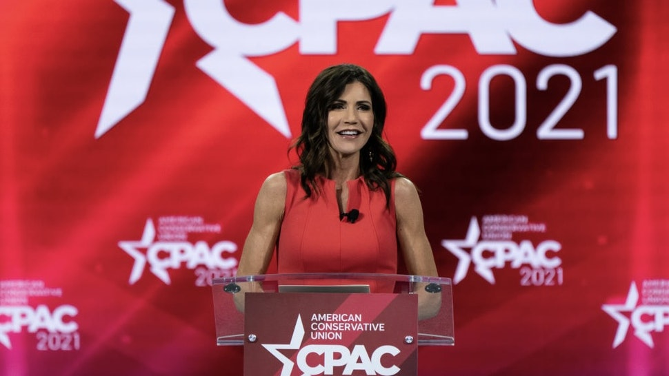 Kristi Noem, governor of South Dakota, speaks during the Conservative Political Action Conference (CPAC) in Orlando, Florida, U.S., on Saturday, Feb. 27, 2021. Donald Trump will speak at the annual Conservative Political Action Campaign conference in Florida, his first public appearance since leaving the White House, to an audience of mostly loyal followers. Photographer: Elijah Nouvelage/Bloomberg