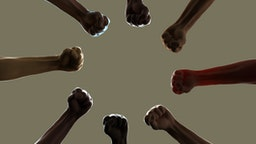 Digital generated image of multi-ethnic arms making circular pattern on beige background.