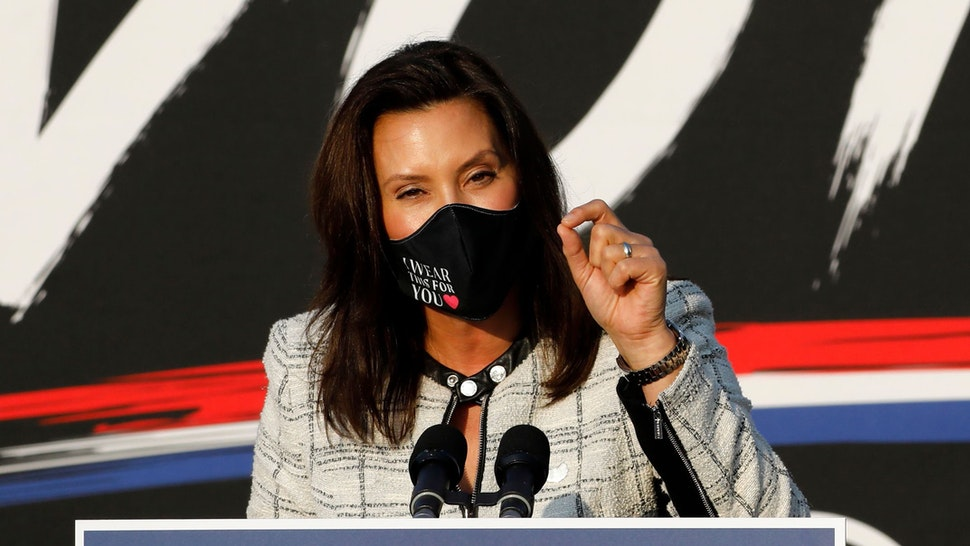 Michigan Governor Gretchen Whitmer speaks before Democratic Vice Presidential Nominee Senator Kamala Harris (D-CA) at the Detroit Pistons Practice Facility in Detroit, Michigan on September 22, 2020.