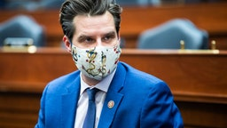 UNITED STATES - FEBRUARY 3: Rep. Matt Gaetz, R-Fla., is seen during the House Armed Services Committee meeting to organize for the 117th Congress in Rayburn Building on Wednesday, February 3, 2021.