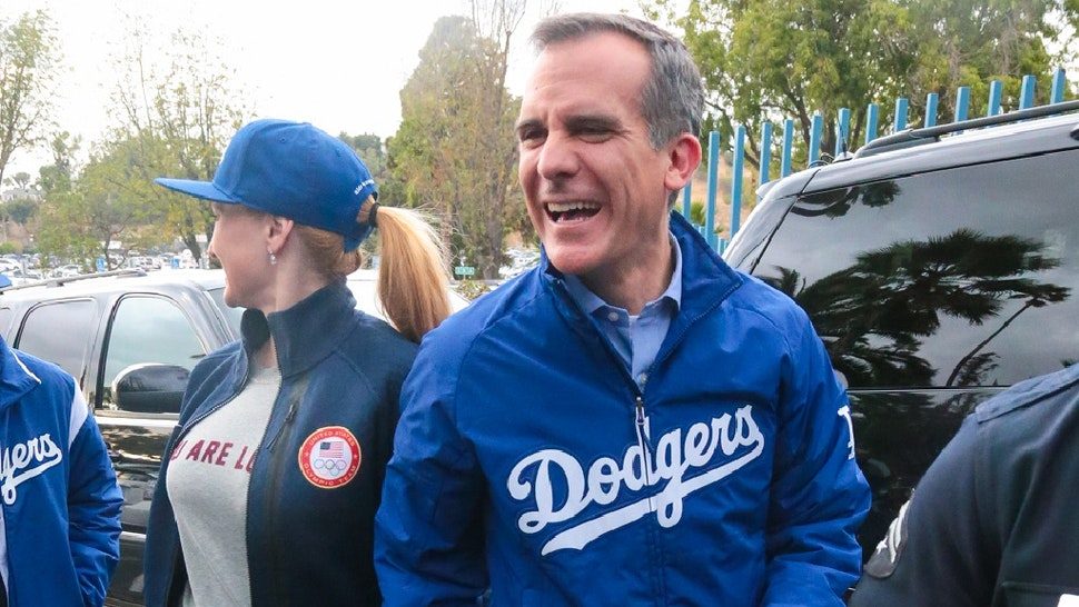 LOS ANGELES, CA - NOVEMBER 01: Eric Garcetti is seen arriving to Game 7 of the 2017 World Series between the Houston Astros and the Los Angeles Dodgers at Dodger Stadium on November 01, 2017 in Los Angeles, California.