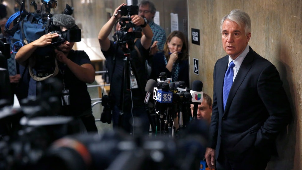 District Attorney George Gascon answers questions from the news media after the sentencing hearing for Jose Inez Garcia Zarate at the Hall of Justice in San Francisco, Calif. on Friday, Jan. 5, 2018.