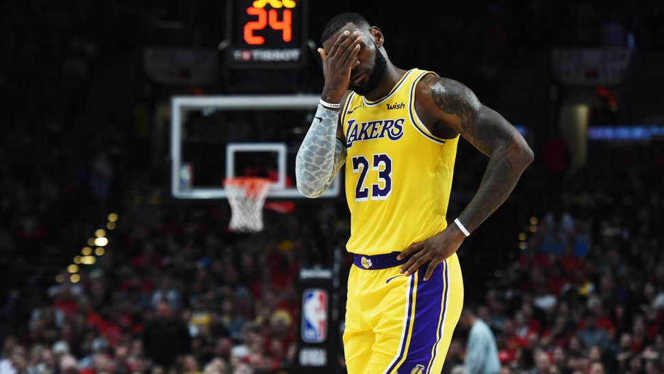 PORTLAND, OR - OCTOBER 18: LeBron James #23 of the Los Angeles Lakers reacts in the first quarter against the Portland Trail Blazers during their game at Moda Center on October 18, 2018 in Portland, Oregon. NOTE TO USER: User expressly acknowledges and agrees that, by downloading and or using this photograph, User is consenting to the terms and conditions of the Getty Images License Agreement. (Photo by Steve Dykes/Getty Images)