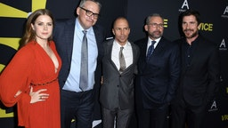 """BEVERLY HILLS, CA - DECEMBER 11: (L-R) Amy Adams, Adam McKay, Sam Rockwell, Steve Carell and Christian Bale attend Annapurna Pictures, Gary Sanchez Productions and Plan B Entertainment's World Premiere of """"Vice"""" at AMPAS Samuel Goldwyn Theater on December 11, 2018 in Beverly Hills, California. (Photo by Steve Granitz/WireImage)"""