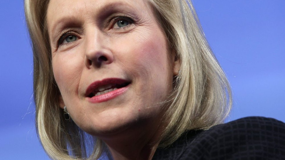 WASHINGTON, DC - AUGUST 19: Democratic presidential candidate U.S. Sen. Kirsten Gillibrand (D-NY) speaks during a Washington Post Live 2020 Candidates series event August 19, 2019 in Washington, DC. Gillibrand discussed her view on various topics including gender and race issues, gun control, healthcare, and immigration.