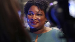 ATLANTA, GEORGIA - NOVEMBER 20: Democratic politician Stacey Abrams speaks to the media before the Democratic Presidential Debate at Tyler Perry Studios November 20, 2019 in Atlanta, Georgia. Ten Democratic presidential hopefuls were chosen from the larger field of candidates to participate in the debate hosted by MSNBC and The Washington Post. (Photo by Joe Raedle/Getty Images)