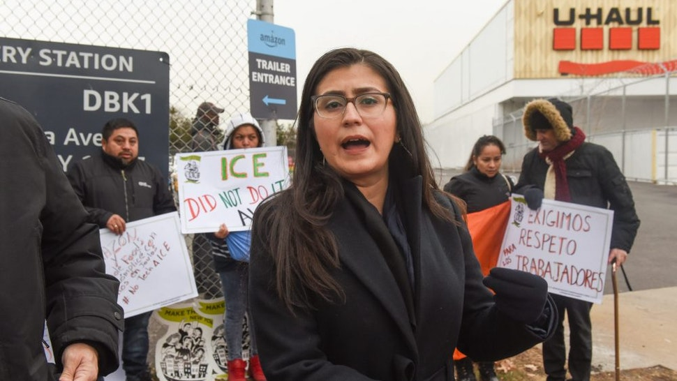 NEW YORK, NY - DECEMBER 16: State Sen. Jessica Ramos (D-NY) delivers remarks while immigrant and labor activists participate in a rally outside of a Amazon distribution center on December 16, 2019 in the Queens borough of New York City. Activists voiced concerns about the safety in the Amazon warehouse work environment. A Reveal investigation from the Center for Investigative Reporting found the rate of serious injuries for 23 facilities studied was more than double the national average for the warehousing industry.