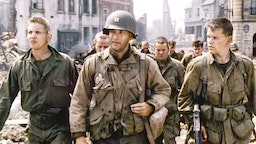 """LOS ANGELES - JULY 24: The movie """"Saving Private Ryan"""", directed by Steven Spielberg. Seen here in front, from left, Barry Pepper (as Private Jackson), Tom Hanks (as Captain John Miller), and Matt Damon (as Private James Francis Ryan). Theatrical release July 24, 1998. Screen capture. A Paramount Picture. (Photo by CBS via Getty Images)"""
