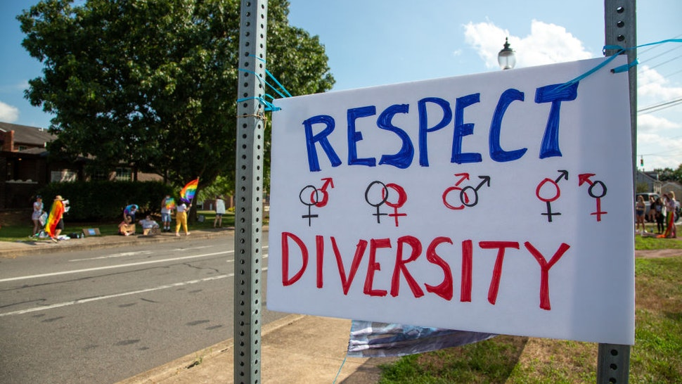 MILTON, PA, UNITED STATES - 2020/08/08: About 100 people participated in a Pride Rally in Milton, Pennsylvania on August 8, 2020. The I Am Alliance organized the event after an area grocery store posted an anti-mask sign which blamed the LGBTQ community for spreading COVID-19.