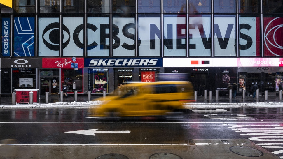 CBS News signage on the ViacomCBS headquarters during a winter storm in New York, U.S., on Friday, Feb. 19, 2021.