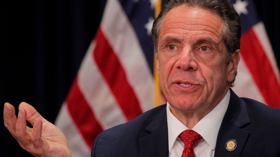 New York Governor Andrew Cuomo speaks during a news conference at his office on March 24, 2021 in New York City.