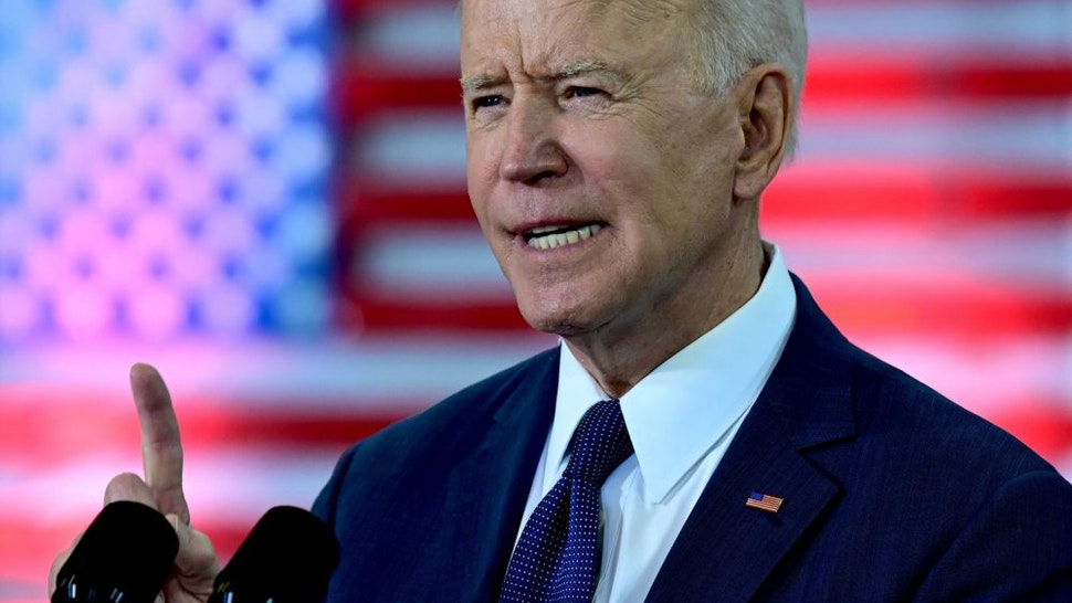 """US President Joe Biden speaks in Pittsburgh, Pennsylvania, on March 31, 2021. - President Biden will unveil in Pittsburgh a $2 trillion infrastructure plan aimed at modernizing the United States' crumbling transport network, creating millions of jobs and enabling the country to """"out-compete"""" China."""