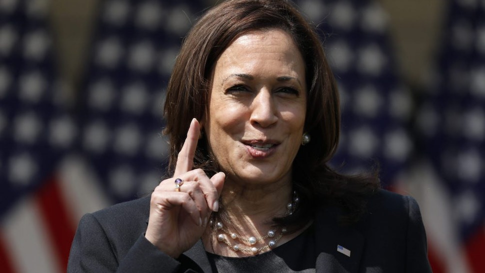 U.S. Vice President Kamala Harris speaks in the Rose Garden of the White House in Washington, D.C., U.S., on Thursday, April 8, 2021. President Biden announced a set of executive actions to curb gun violence, urging Congress to adopt stricter laws and rebutting arguments that his new measures impinge on Americans' second amendment rights.