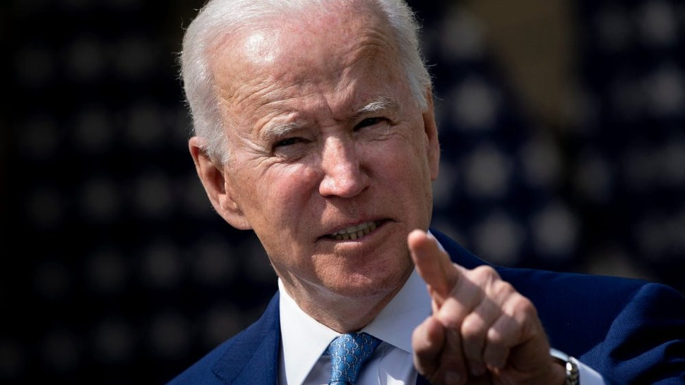 """US President Joe Biden speaks from the Rose Garden of the White House about gun violence on April 8, 2021, in Washington, DC. - Biden on Thursday called US gun violence an """"epidemic"""" at a White House ceremony to unveil new attempts to get the problem under control."""