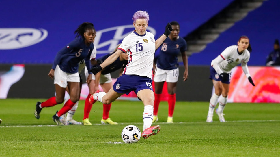 Megan Rapinoe #15 of USA shoots a penalty and scores during the International women friendly match between France and United States on April 13, 2021 in Le Havre, France.