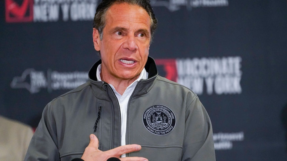 Gov. Andrew Cuomo speaks during a news conference, at a pop up COVID-19 vaccination sight on April 14, 2021 at Belmont Park in Elmont , New York.
