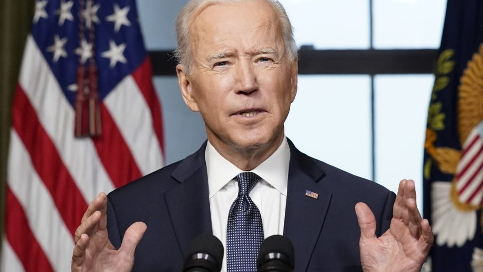 WASHINGTON, DC - APRIL 14: U.S. President Joe Biden speaks from the Treaty Room in the White House about the withdrawal of U.S. troops from Afghanistan on April 14, 2021 in Washington, DC. President Biden announced his plans to pull all remaining U.S. troops out of Afghanistan by September 11, 2021 in a final step towards ending America's longest war.