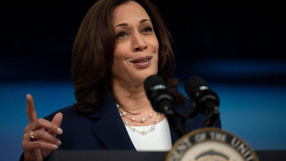 Vice President Kamala Harris speaks about the American Recovery Plan at the White House in Washington, DC, on April 15, 2021.