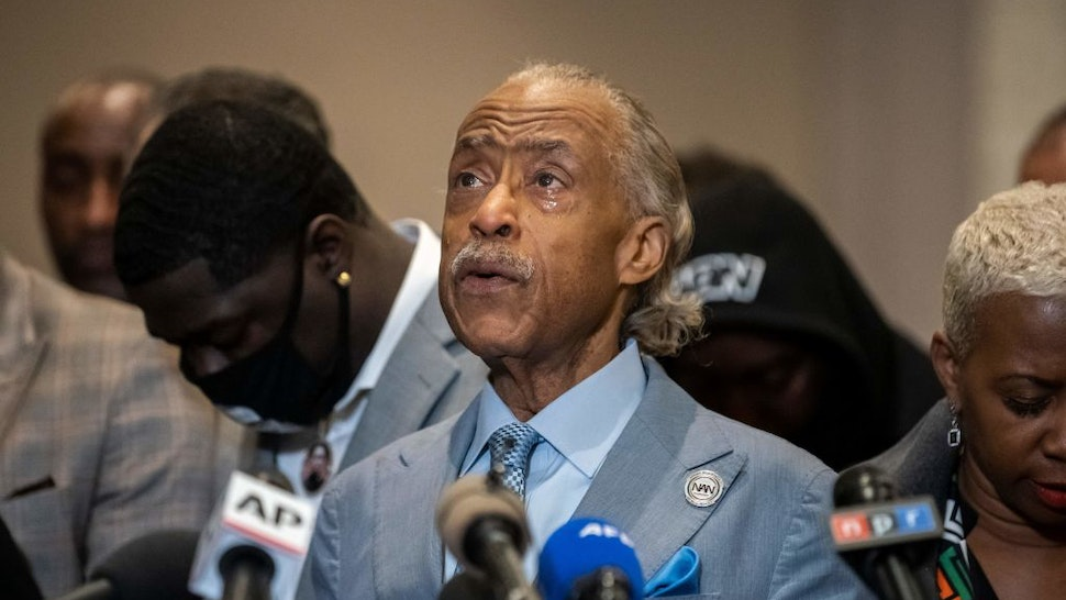 Reverend Al Sharpton cries during a press conference following the verdict in the trial of former police officer Derek Chauvin in Minneapolis, Minnesota on April 20, 2021. - Sacked police officer Derek Chauvin was convicted of murder and manslaughter on april 20 in the death of African-American George Floyd in a case that roiled the United States for almost a year, laying bare deep racial divisions. (Photo by Kerem Yucel / AFP) (Photo by KEREM YUCEL/AFP via Getty Images)