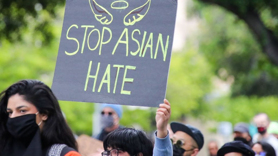 People take part in a Stop Asian Hate rally in San Jose, California, the United States, April 25, 2021.