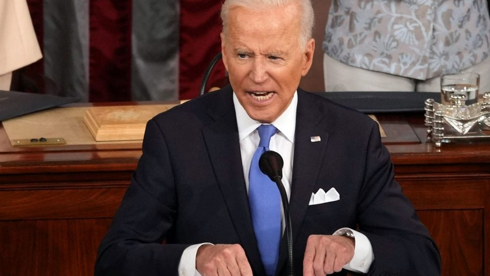 US President Joe Biden addresses a joint session of Congress at the US Capitol in Washington, DC, on April 28, 2021.