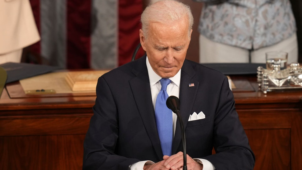 U.S. President Joe Biden pauses while speaking during a joint session of Congress at the U.S. Capitol in Washington, D.C., U.S., on Wednesday, April 28, 2021.