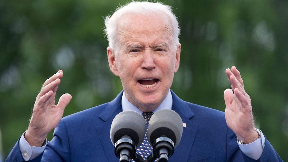US President Joe Biden speaks during a drive-in rally at Infinite Energy Center April 29, 2021, in Duluth, Georgia. (Photo by Brendan Smialowski / AFP) (Photo by BRENDAN SMIALOWSKI/AFP via Getty Images)