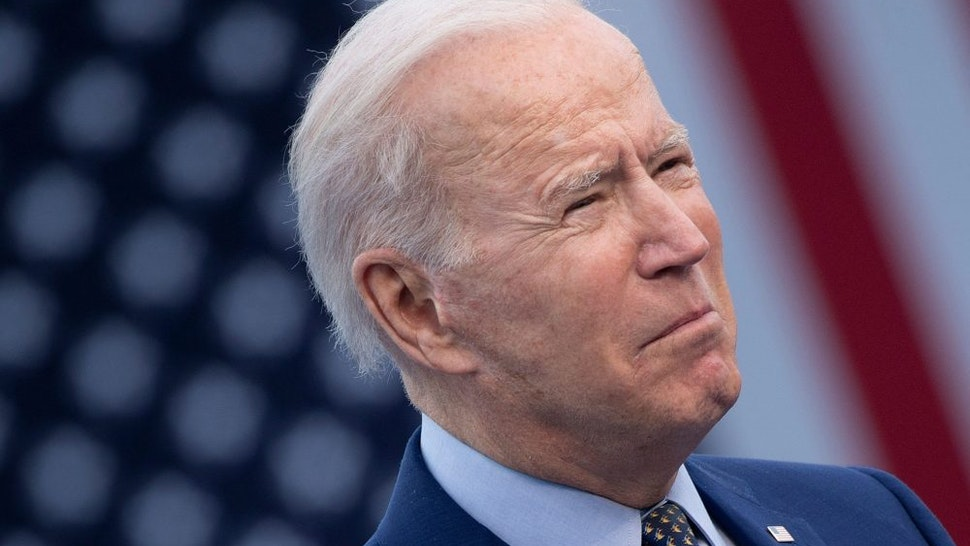 US President Joe Biden speaks during a drive-in rally at Infinite Energy Center April 29, 2021, in Duluth, Georgia.