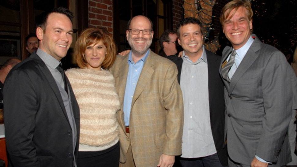 """Producer Dana Brunetti, Sony Pictures' Amy Pascal, producer Scott Rudin, producer Michael De Luca and screenwriter Aaron Sorkin attend """"The Social Network"""" Blu-ray and DVD release event at Spago on January 6, 2011 in Beverly Hills, California."""