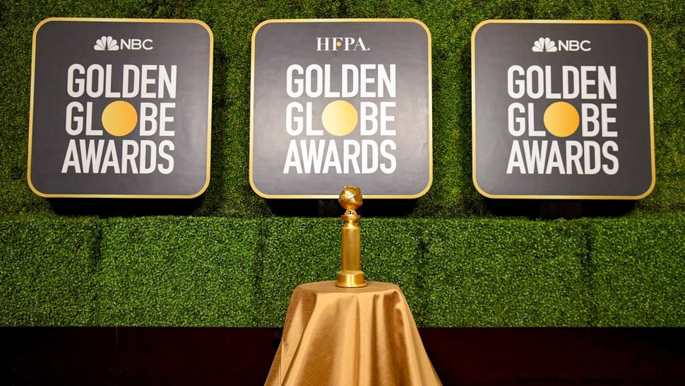A view of the Golden Globe Trophy on display during the 78th Annual Golden Globe® Awards aired on February 28th, 2021 at The Rainbow Room on February 27, 2021 in New York City.
