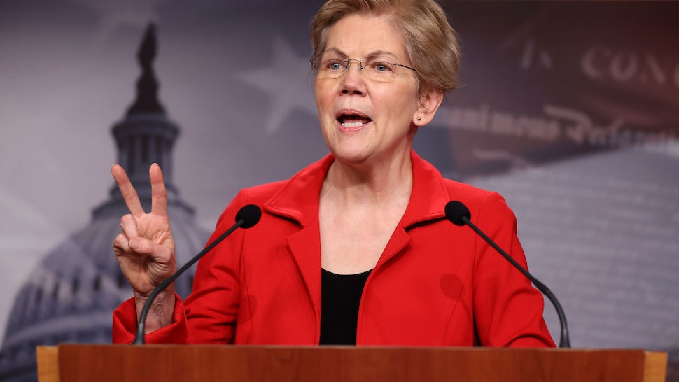 Sen. Elizabeth Warren (D-MA) holds a news conference to announce legislation that would tax the net worth of America's wealthiest individuals at the U.S. Capitol on March 01, 2021 in Washington, DC.
