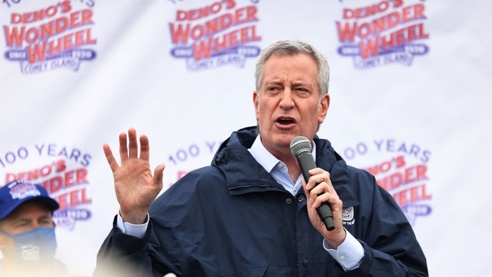 NYC Mayor Bill de Blasio speaks during a Coney Island parks reopening event in the Coney Island neighborhood of Brooklyn borough on April 09, 2021 in New York City.