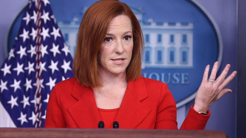 White House Press Secretary Jen Psaki talks to reporters during the daily news conference in the Brady Press Briefing Room at the White House on April 12, 2021 in Washington, DC.