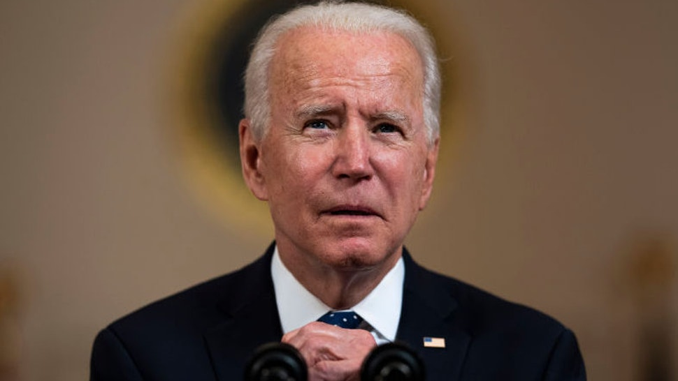U.S. President Joe Biden makes remarks in response to the verdict in the murder trial of former Minneapolis police officer Derek Chauvin at the Cross Hall of the White House April 20, 2021 in Washington, DC.